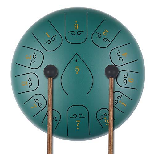 KUD Steel Tongue Drum, 12 Zoll 13 Tone Zungentrommel Ätherische Trommel Stahl Handpan Drum Schlagzeug...
