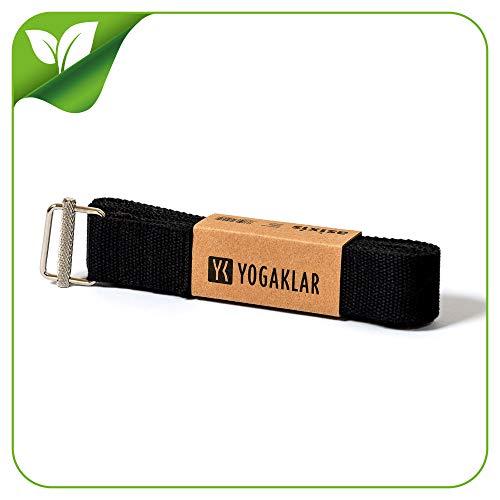 Yoga-Gurt aus Baumwolle, 250 x 3,8 cm – schön breit und extra stark mit rutschfestem Metall-Verschluss,...