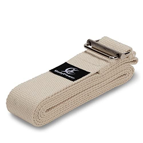 WOMA Yoga Gurt aus 100% Baumwolle in 5 Farben & 2 Längen - 183cm & 240cm x 3,8cm mit besonderer und extra starker Schnalle - Yoga Band/Yoga Strap für besseres & einfaches Dehnen bei Yoga & Pilates