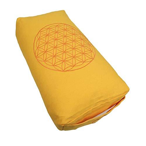 Hochwertiges Meditationskissen Shiva Blume des Lebens mit gefülltem Innenkissen Bio-Dinkelspelzen Größe 40 x 20 x 10 cm universal einsetzbar Bezug separat waschbar (gelb)