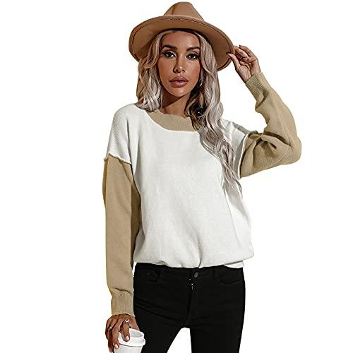 WangsCanis Color Block Damen Pullover mit Kapuze Sweatshirt Langarm T-Shirt Strick Top mit Kapuze Oversize Streetwear, Aprikose, M