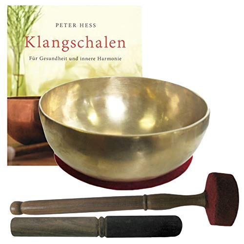 Therapie KLANGSCHALE 900-1000g + BUCH Peter Hess 5-tlg Klangmassage SET. GELENKSCHALE UNIVERSALSCHALE...