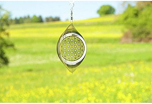 Windspiel Blume des Lebens ø 15 cm aus Edelstahl   Wohn-Dekoration Mobile Lebensblume Spirituelles Symbol   Feng Shui Esoterik Geschenke günstig kaufen