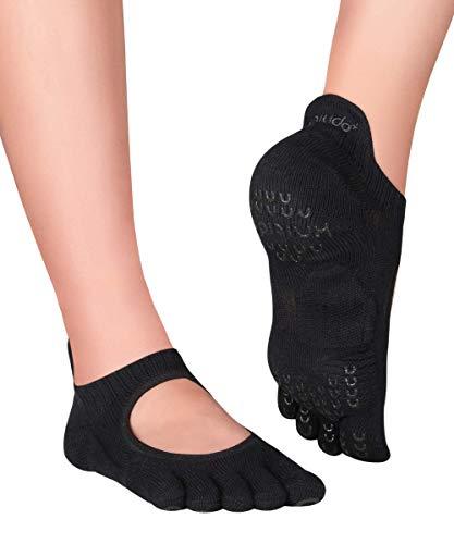 Knitido+ Kumo Zehensocken für Yoga, Pilates, Barre, mit ABS, Größe:39-42, Farbe :schwarz (09)