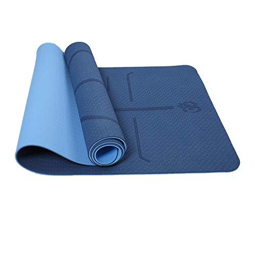 Reyke rutschfeste TPE-Yogamatte, Trainingsmatte Umweltfreundliches zweifarbiges Fitness-Pad mit Tragegurt,...