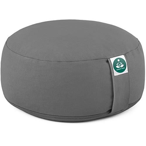 Present Mind Meditationskissen - Yogakissen Rund Zafu - Hergestellt in der EU - Sitzhöhe 16 cm - Waschbarer Bezug - 100% Natürliche Yoga Sitzkissen (Zementgrau)
