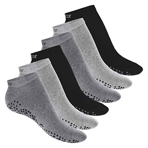 Celodoro Damen Pilates & Yoga Sneaker Socken (6 Paar), Kurze Sportsocken mit ABS - Classic Grey 39-42