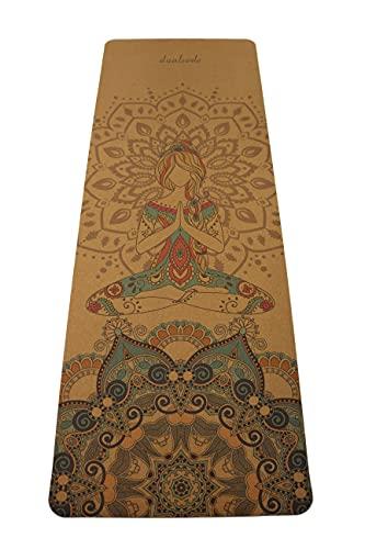 Yogamatte aus Kork und Naturkautschuk, Eco schadstofffrei, nachhaltige Sportmatte, Korkmatte mit Tragegurt, Gymnastikmatte rutschfest, robust, breit und dick (183 x 66 x 0,5 cm) (Pure Femininity)
