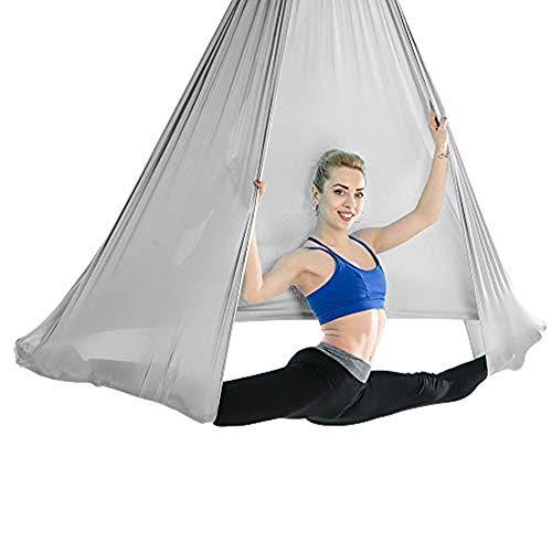 Viktion Yoga Hängematte Anti-Gravity-Yoga-Schwingen Keine Nähte Aerial Yoga Fitness Tuch Aerial Yogatuch 4m*2.8m (Grau)