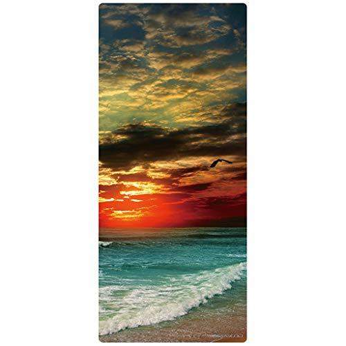 hsj LF- Yoga-Matten aus Naturkautschuk, 80 cm breit, verdickt, verlängert, lang, rutschfest, für Fitness, Tanz, Yoga, Matte, rutschfest (Farbe: Motley, Größe: 4,5 mm)