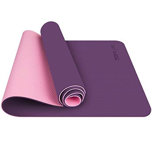 TOPLUS Gymnastikmatte, Yogamatte Yogamatte Gepolstert & rutschfest für Fitness Pilates & Gymnastik mit Tragegurt (Lila-Pink)
