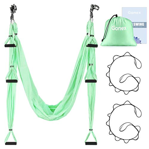 Gonex Aerial Yoga Swing Set, Hängematte/Trapez/Tragetuch mit Anleitung Antigravity Decke Hängende Yoga Schaukel, Blau/Lila/Hellgrün (Grün)