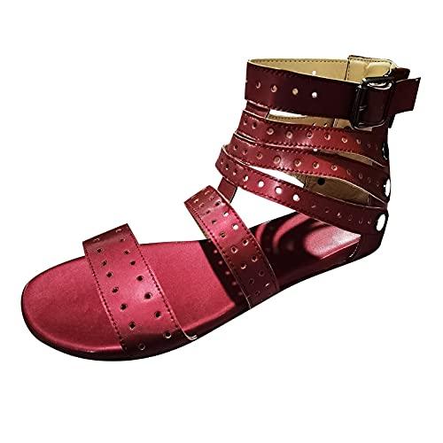 YAOBF Frauen Bequeme Yoga Fußbett Badelatschen Fersenpolster FüR Zu GroßE Schuhe Hausschuhe Kinder Modische Sommerschuhe Damen Badeschuhe (Rot,39)