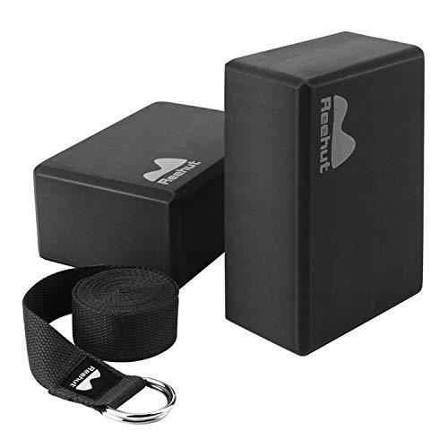 REEHUT Yoga Block 2er Set mit 2.4m Yoga Gurt Yoga Blöcke aus Eva Yoga Klötze 2 Pack für Pilates Fortgeschrittene Meditiation Anfänger und Fortgeschrittene