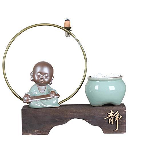 ALEOHALTER Rückfluss-Räuchergefäß mit 45 Rückfluss-Räucherkegeln, Keramik, Aromatherapie, Ornament, Heimdekoration, Desktop-Ornament (Größe: 1)