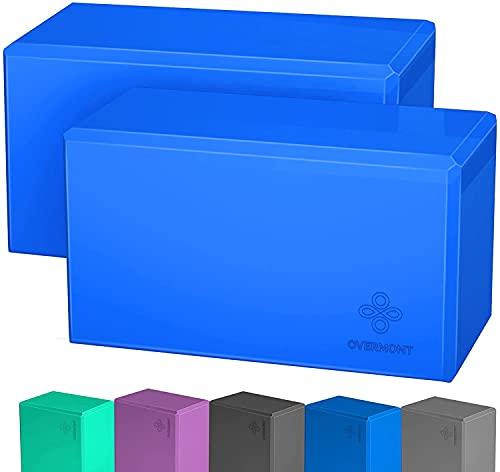 OVERMONT Yoga Block Yogaklotz 2er Set Yoga und Pilates für Anfänger Blau
