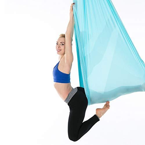 Aerial Yoga Hängematte, langlebiges elastisches Yoga Swing Flying Yoga Seidenset Aerial Yoga Swing Set Yoga Sling Inversion Tool für Fitness zu Hause Fitness(Blau)