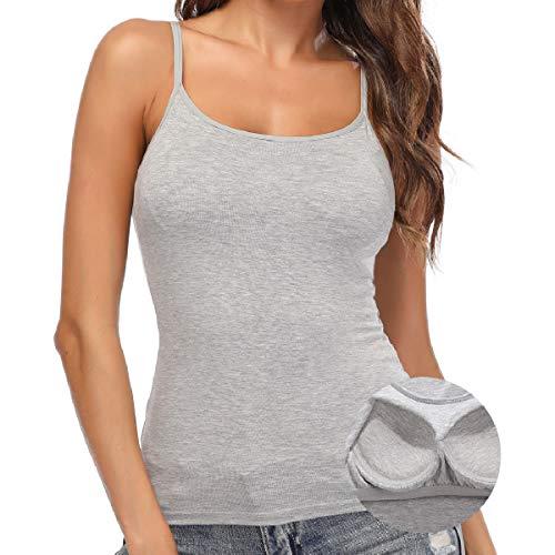 SLIMBELLE Damen BH-Hemd Unterhemd mit Eingebautem Bügellosem BH Verstellbare Spaghettiträger Basic Gepolsterte Tank Tops Rundhals Tiefgrau für Cup A-C XL