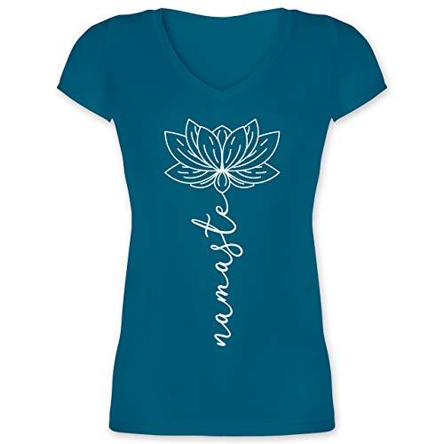 Yoga und Wellness Geschenk - Namaste Lotusblüte weiß - M - Türkis - Shirt Damen Yoga Spruch - XO1525 - Damen T-Shirt mit V-Ausschnitt