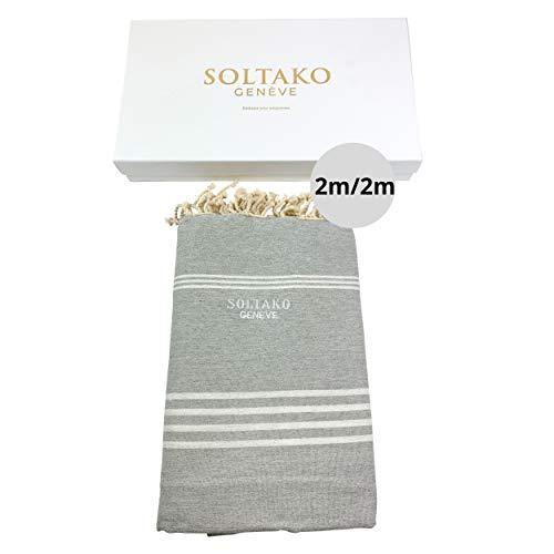 SOLTAKO XXXL 2x2m Fouta Strandtuch Handtuch Saunatuch Badetuch Hamamtuch Yoga Decke Pestemal in Pastellgrau Farbe in eleganter Geschenkbox, extra groß, 200 x 200 cm