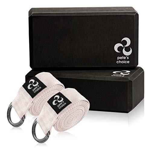 pete's choice 2 Yoga Blöcke und 2 Yogagurte - Yoga Fitness Set für Anfänger I Yoga-Fans I Fitness Zubehör Ideal für Gymnastik und Yoga zu Hause