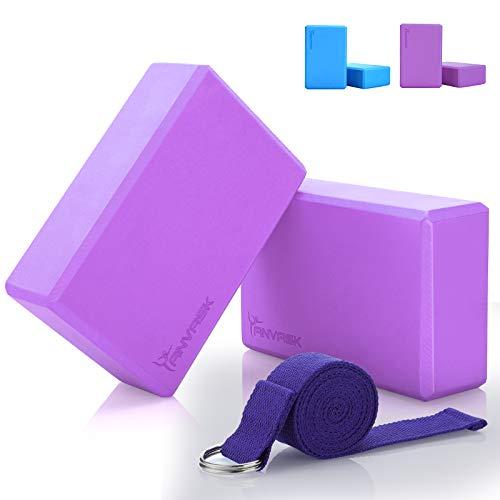ANVASK 2pcs Yogablock (23 * 15 * 7.6cm) mit 1pcs Yoga Gurt, Komfortabel Eva-Schaum Yogaklotz Plus Yogagurt...