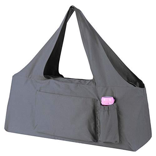 KUAK Yogamatten-Tasche, groß, 30 x 9 x 11 cm (L x B x H), mit Reißverschluss, 5 multifunktionale Taschen, passend für die meisten Matten mit Yogamatten-Gurt, Grau