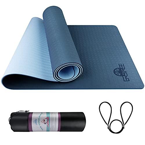 GRSTREE Gymnastikmatte, Yogamatte Gepolstert & rutschfest für Fitness Pilates & Gymnastik mit Tragegurt-183 x 61 x 0,6cm-- Blau