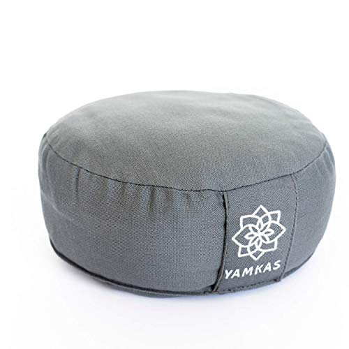 Yamkas Yogakissen Meditationskissen - Waschbarer Bezug aus Baumwolle - Yoga Sitzkissen Boden mit Buchweizen füllung - Yoga Kissen Zafu Bodenkissen Rund - Sitzhöhe 15cm Hoch - 30 x 15 cm - Grau
