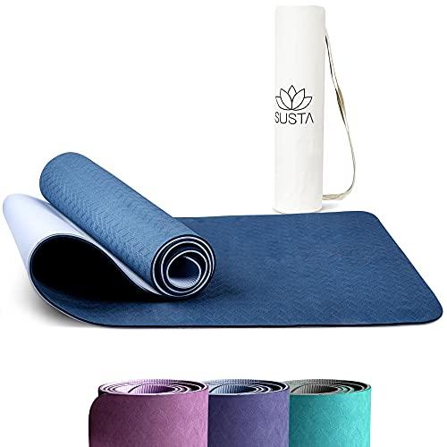 SUSTA – Yogamatte rutschfest [183x61x0,6cm] – Trainingsmatte für Yoga,Pilates&Fitness - aus TPE & wasserabweisend – Inkl. Tragegurt&Tragetasche