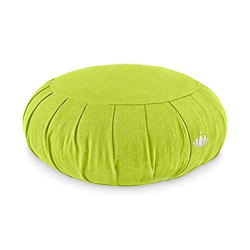 Lotuscrafts Zafu Meditationskissen Yogakissen Zen - Sitzhöhe 15cm - Yoga Zafukissen mit Dinkelfüllung - Waschbarer Bezug aus Bio-Baumwolle - GOTS Zertifiziert - Mit Bestickung