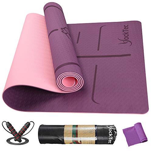 YockTec Yogamatte rutschfest TPE Schadstofffrei, Yoga Matte Gymnastikmatte Sportmatte Fitnessmatte mit Ausrichtungslinien für die Körperhaltung, Yoga mat für Pilates- 6MM Dick mit Tragegurt (Lila)