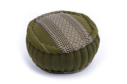 Handelsturm Zafu Meditationskissen mit Füllung aus Kapok 34 x 15 buntes Kissen für Sitzmeditation Lotussitz oder Zen Meditation (Thaimuster bambusgrün)