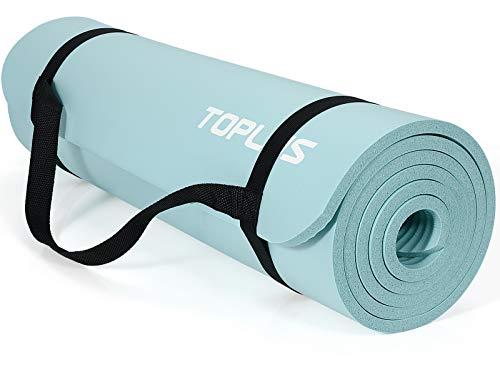 TOPLUS Verdickte Gymnastikmatte Phthalatfreie Yogamatte rutschfest und gelenkschonend Sportmatte für Yoga Pilates Sport mit praktischem Trageband Pilatesmatte 183 * 61 * 1 cm,Hellblau