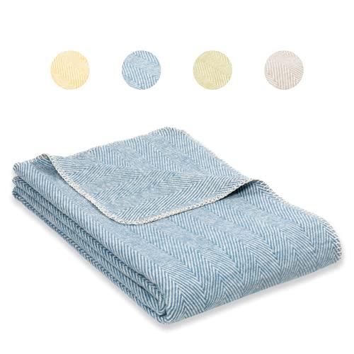 RIEMA® Bio Kuscheldecke (KBA) mit Oeko-TEX Zertifikat - weiche Baumwolldecke mit Fischgrätmuster – kuschelige Wolldecke aus Baumwolle Made in Germany – 140x200 cm (himmelblau)
