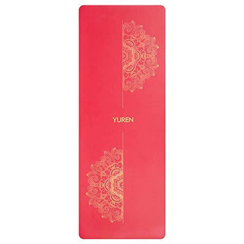 YUREN Premium Yogamatte 5mm Dicke Fitnessmatte aus Naturkautschuk für Yoga Pilates Sport und Training Mit Goldene Mandala Muster Hilfslinien 185×68cm