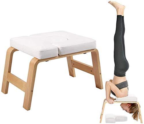 Yoga Kopfstandhocker,Hocker Head-Stand Für Yoga-Starter-Sets,Stuhl Decompression in Neck Mit Holz Und PU-Pads,Durch Schont Sie Kopf & Schultern,Weiß
