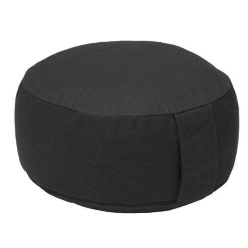 Meditationskissen RONDO BASIC (Dinkel), mit abnehmbarem Bezug (schwarz), bequemes, klassisches Sitzkissen für die Meditation im Yoga, für Zen Meditation und andere Sitzmeditationen, Yogakissen