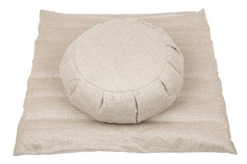 Handelsturm Meditationsset mit Füllung aus Buchweizenspelz (Zafu + Zabuton) Meditationskissen und Matte Leinen