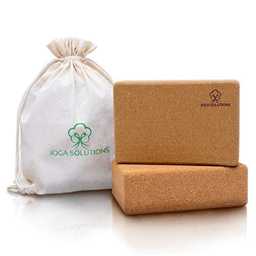 Joga Solutions®- Yoga Block- Yogablock Kork+ gratis Baumwolltasche- Yoga Block 2er Set für Yoga & Pilates+...