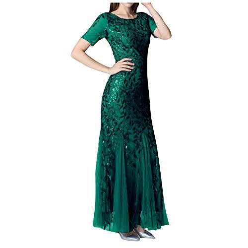 Kleid für Damen, Frauen mit Perlen-Netzstoff, Fischschwanz, kurzärmelig, Rundhalsausschnitt, schmal, Hochzeit, Cocktail, Heimkehr, formelle Kleider, Abendkleid, Abschlussball XXL grün