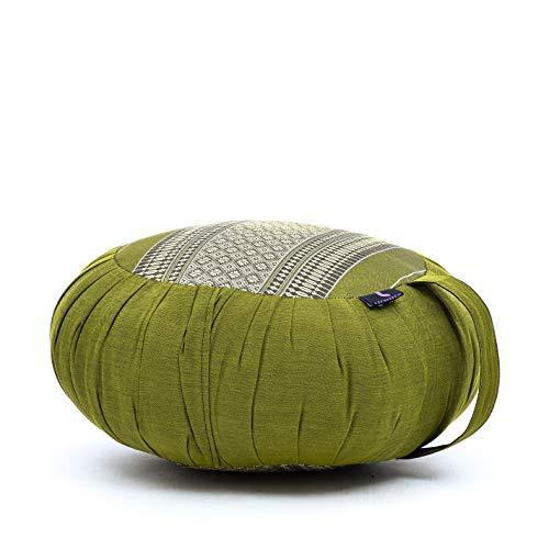 Leewadee Meditationskissen Yogakissen Zafu Ökologisches Naturprodukt, 40x20 cm, Kapok, grün