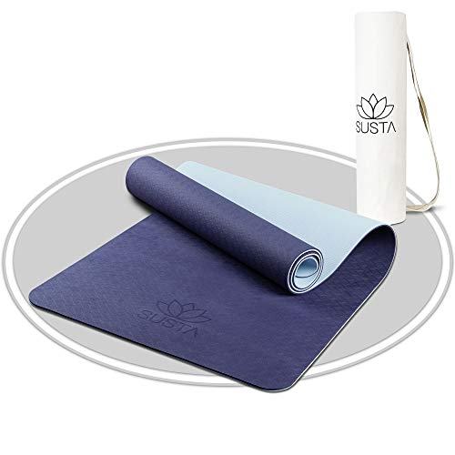 SUSTA – Premium Yogamatte rutschfest [183x61x0,6cm] – Gymnastikmatte schadstofffrei aus TPE & EVA Schaumstoff – Inklusive Tragegurt & Tragetasche (Blau)