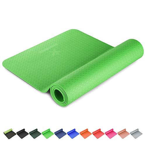 BODYMATE Yogamatte Premium TPE Apfel-Grün - Größe 183x61cm – Dicke 6mm – Schadstoffgeprüft frei von Phthalaten, BPA, Schwermetallen – Trainings-Matte für Fitness, Yoga, Pilates, Functional