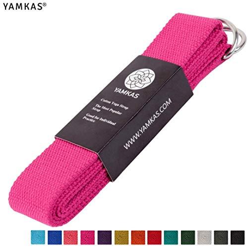 Yamkas Yoga Gurt 100% Bio Baumwolle | 1.8M - 3M Lang | Yogagurt mit Verschluss aus Metall | Yoga Strap Stretch...