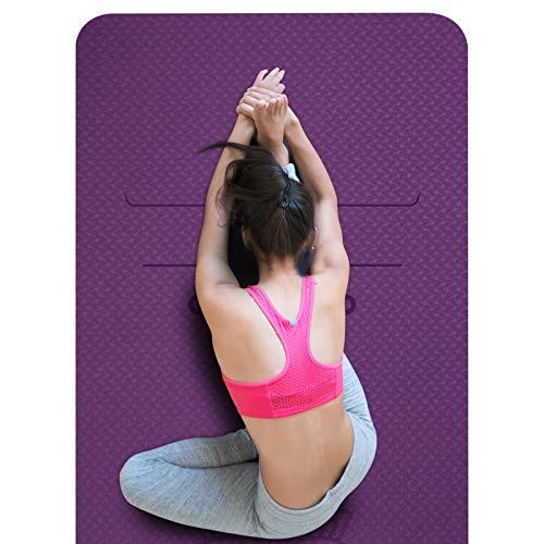 SKL rutschfeste Yogamatte, Pilates Matte mit Ausrichtungslinien, Schadstofffrei TPE Yogamatte, 0,6cm Dicke...