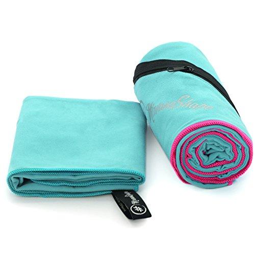 NirvanaShape ® 2er Set Mikrofaser Handtücher | saugfähig, leicht, schnelltrocknend | Badehandtücher, Reisehandtücher, Sporthandtücher | Ideal für Reisen, Fitness, Yoga, Sauna