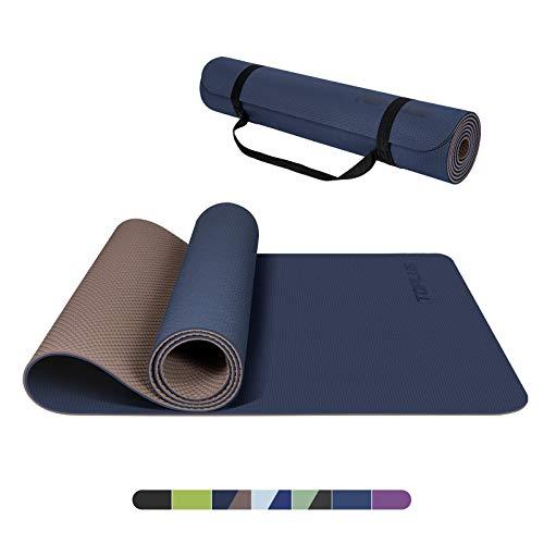 TOPLUS Yogamatte Gymnastikmatte Trainingsmatte Übungsmatte mit Tragegurt rutschfest gut für Anfänger bei Yoga für Fitness, Pilates & Gymnastik, 183 x 61 x 0,4 cm (Dunkelblau & Braun)