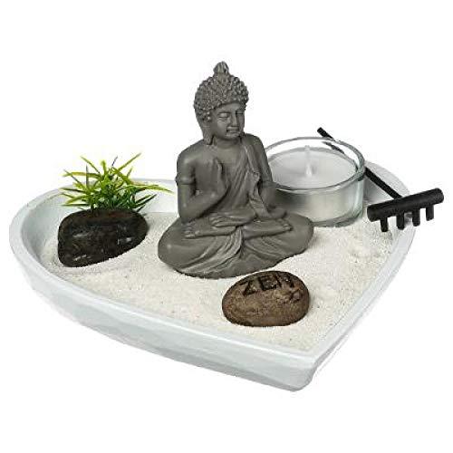 Ducomi Zen Gartentisch mit Tablett, Sand, Buddha-Figur, Stein - Japanisches Meditationsset - Wohnaccessoires Innenmöbeldekoration Geschenkidee (Sonnenstrahlen)