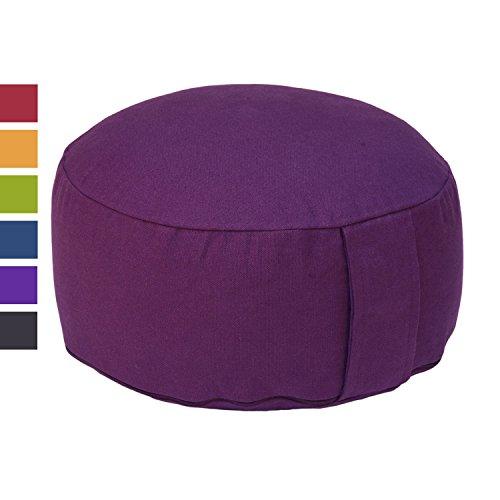 Meditationskissen RONDO BASIC, Yogakissen, Kapok-Füllung, Bezug aus 100% Baumwolle mit praktischem Tragegriff (aubergine)